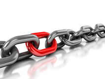 Chain with one red link Royalty Free Stock Images