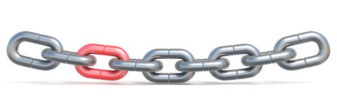 Chain with one red link 3D. Render illustration isolated on white background Royalty Free Stock Photos