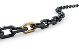 Chain with one shiny golden link. 3d render of chain with one shiny golden link Stock Images