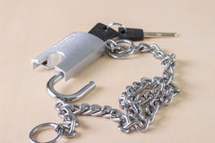 Chain with open padlock Stock Images