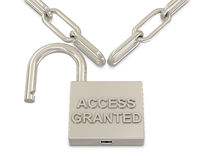 Chain and opened padlock Royalty Free Stock Photography