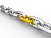 A chain with an outstanding golden link Royalty Free Stock Photo