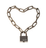 Chain and padlock. Chain which is connected by the lock in the form of heart Stock Images