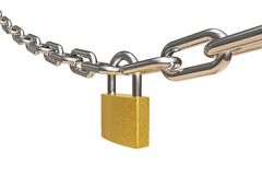 Chain and padlock. Rendered grahic illustration of security Stock Image