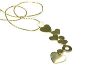 Chain with pendant in the form of hearts Stock Photos