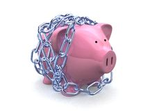 Chain and piggy Royalty Free Stock Images
