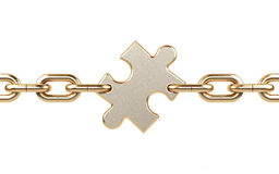 Chain with puzzle. Royalty Free Stock Photography