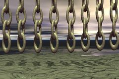 Chain Rain. 3D rendering of chains falling from sky royalty free illustration