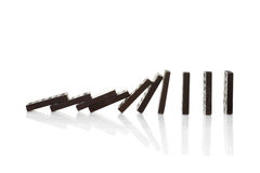 Chain reaction of domino blocks Royalty Free Stock Image