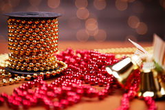 Chain red and golden ornamental beads Stock Photos