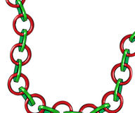 Chain with red and green rings. Chain with alternate red and green rings on a white background royalty free illustration