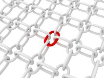 Chain with red link. 3d royalty free illustration