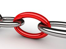Chain with red link Royalty Free Stock Image