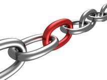 Chain with red link Royalty Free Stock Photography