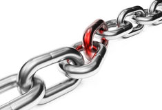 Chain with red link Stock Images