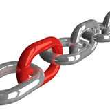 Chain with red link Royalty Free Stock Photo
