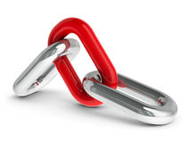 Chain with red link #2. Chain with red link - team cooperation concept, three-dimensional rendering Stock Photography