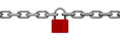 Chain with red lock Stock Photos