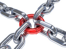 Chain and red ring Stock Photography
