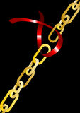 Chain and ribbon Royalty Free Stock Photo