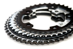 Chain Rings. Six bicycle front chainrings or gears Royalty Free Stock Images