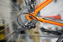 Chain rings and rear derailleur of a bike Stock Images