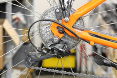 Chain rings and rear derailleur of a bike Stock Photos