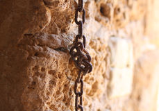 Chain in the rock Stock Image