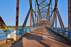 Chain of Rocks bridge on the Mississippi river. Old Chain of Rocks bridge on the Mississippi river, Granite City Illinois stock photo