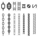 Chain and rope. Set of vector elements for making ropes and chains of any length and shape royalty free illustration