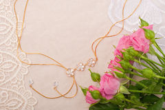 Chain and roses. On lace background Royalty Free Stock Photography