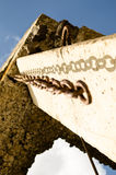 Chain on the ruined building Royalty Free Stock Images