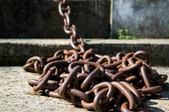 Chain. Rusty chain from the sea royalty free stock photography