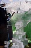 Chain sågar och is Fotografering för Bildbyråer