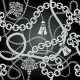 Chain sömlöst för silver. Vektorbakgrund. Royaltyfri Bild