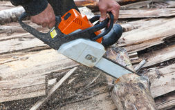 Chain saw. Close up in a sunny day Stock Images