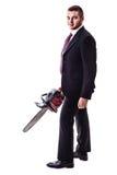 Chain saw businessman Stock Photography