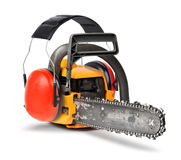 Chain saw  with ear protectors Royalty Free Stock Photo