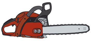 Chain saw. Hand drawing of a power saw Stock Photos