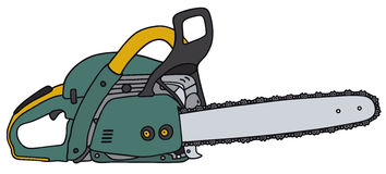 Chain saw. Hand drawing of a power saw Royalty Free Stock Images