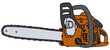 Chain saw. Hand drawing of a power saw Stock Image