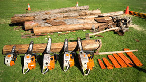 Chain Saws of Different Sizes Stock Images