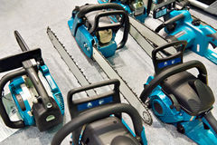 Chain saws in store Royalty Free Stock Photo