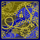 Chain seamless on polka dots background. Stock Photos