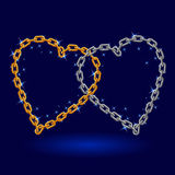 Chain silver and gold heart. Stock Photos