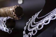 Chain. Silver shining chain jevelery exhibition Stock Image