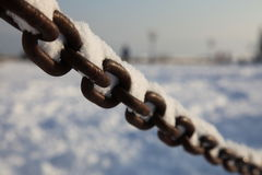 Chain with snow Stock Photo