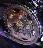 Chain of a sports motorcycle Royalty Free Stock Photos