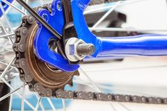Chain and sprocket of bicycle. In close up of a Chain and sprocket of bicycle royalty free stock photo