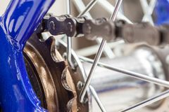 Chain and sprocket of bicycle. In close up of a Chain and sprocket of bicycle stock images